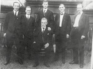Harry Boland, Liam Mellows, Éamon de Valera, Patrick McCartan and Diarmuid Lynch with John Devoy (seated) in the US in 1919 or 1920. Photo courtesy: National Library of Ireland