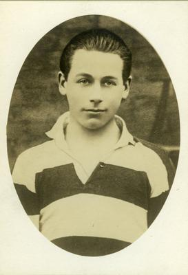 Kevin Barry in the rugby jersey of Belvedere College, Dublin.