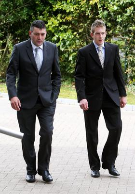 Michael Kivlehan (right) and Sean Rowlette, who both lost their wives during childbirth, arriving at Carrick-on-Shannon courthouse during the inquest into the death of Michael's wife Dhara