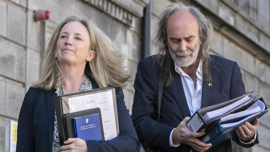 John Waters and Gemma O'Doherty outside the Four Courts (PIC: Collins Courts)