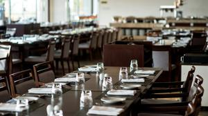 Stock image of an empty restaurant.