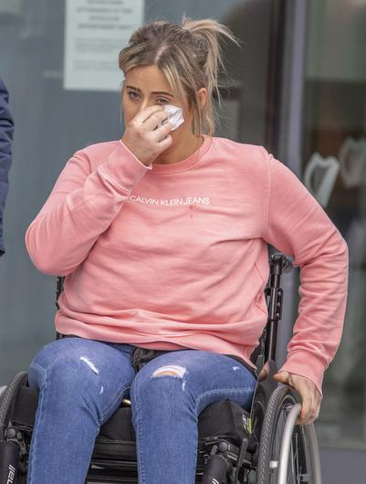 Rachel Elliott, who has been left wheelchair-bound, leaving Donegal Circuit Court which was held in Letterkenny. Picture: North West Newspix