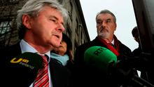 Ian Bailey accompanied by his solicitor Frank Buttimer (left) outside the Four Courts in Dublin