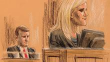 Court sketch of Gemma Dwyer giving evidence