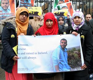 Ibrahim Halawa's sisters (from left) Fatima, Omaima and Somaia protesting at Leinster House last month