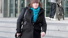 Laureen Buckley leaving Central Criminal Court after she gave evidence in the trial