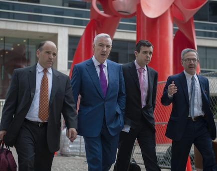 Sean Dunne and his lawyers outside the New Haven, Connecticut, Federal Building