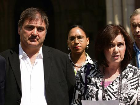 Michelle Diskin (right) reads a statement on behalf of her brother Barry George (left) after he lost his bid for compensation over the wrongful prosecution for the murder of Jill Dando
