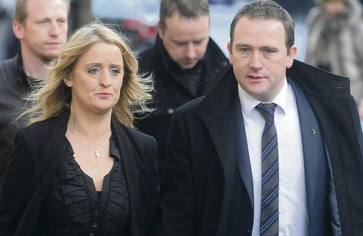 Roisin and Mark Molloy outside the inquest