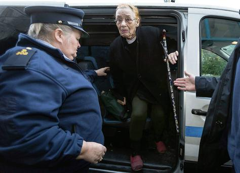 Margaretta D'Arcy arrives at Ennis District Court yesterday. Eamon Ward
