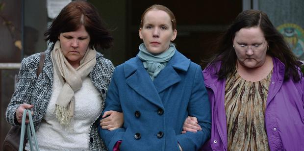 Rebecca McCarthy (centre) with her mother and aunt at the inquest in Bantry, Co Cork