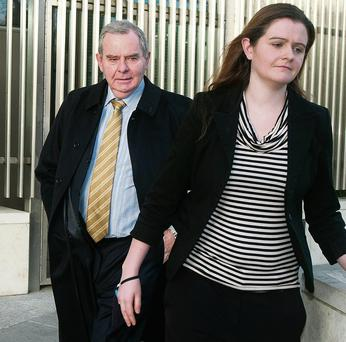 Sean Quinn and his daughter Brenda Quinn outside court after he was called as a witness earlier in the trial. Photo: Collins