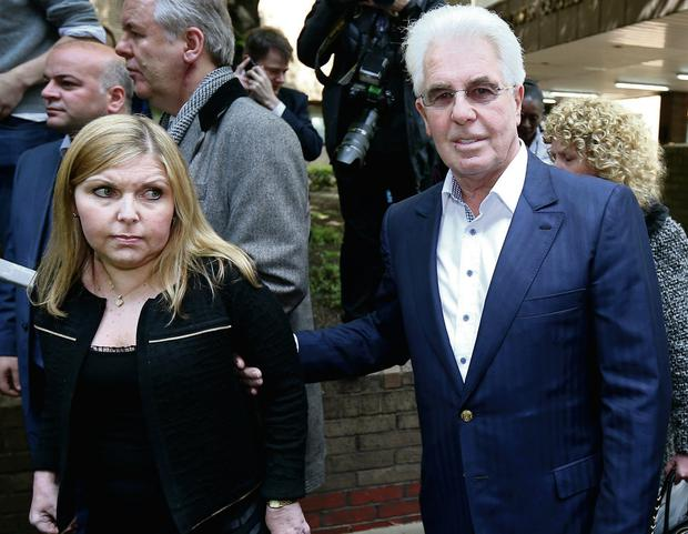 Max Clifford, right, leaves Southwark Crown Court with his daughter Louise. Getty Images/Peter MacDiarmid