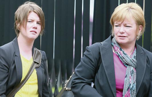 Alison Fox and her mum Breege Fox leaving the Four Courts after the opening day of a High Court action for damages. Collins
