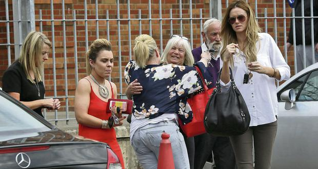 Family of Dale Creighton as seven appeared before Tallaght District Court charged with his murder while another was charged with serious assault. Photo: Colin Keegan