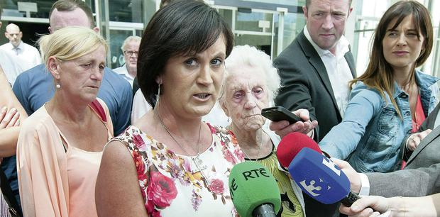 Elizabeth Hughes speaks to the media yesterday after Dermot Griffin was jailed for the manslaughter of her son Stephen
