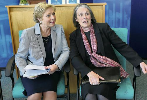 Justice Minister Frances Fitzgerald, left, with Chief Justice Susan Denham at the report launch. Picture: Damien Eagers