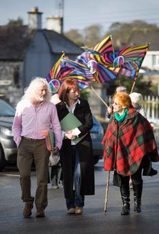Mick Wallace and Clare Daly arriving at Ennis Court with supporter Margaretta Darcy yesterday