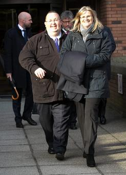 Former RSA chief executive Philip Smith and his wife Shirley leave the Employments Appeal Tribunal, Dublin
