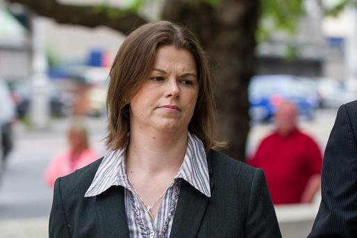 Childminder Sandra Higgins outside court during her trial