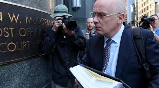 David Drumm arriving at the bankruptcy court in Boston