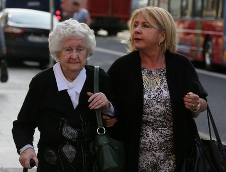 Anne Rudd at court with her daughter Terry Davey