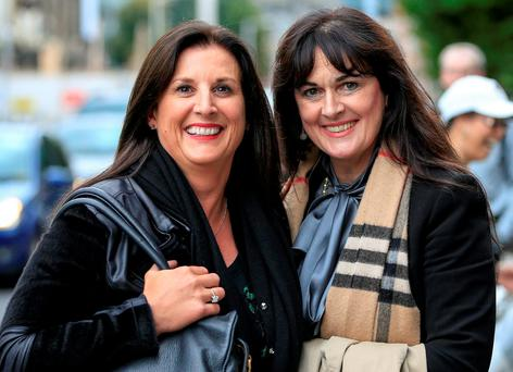 Michelle Morrison (right) with her sister Laura leaving the High Court yesterday