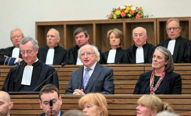 President Michael D Higgins addresses the Court of Appeal, flanked by Mr Justice Sean Ryan, President of the Court of Appeal, and Mrs Justice Susan Denham, the Chief Justice