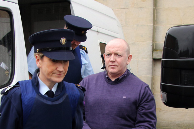 Gardaí lead Pearse McCauley into Cavan courthouse yesterday. Below inset: Pauline Tully leaves the court