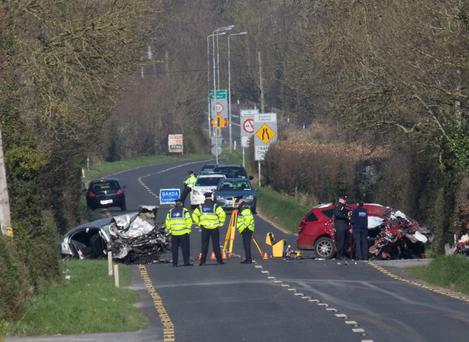 The scene of the crash on the N24 outside bansha in Co Tipperary. Photo: Press 22
