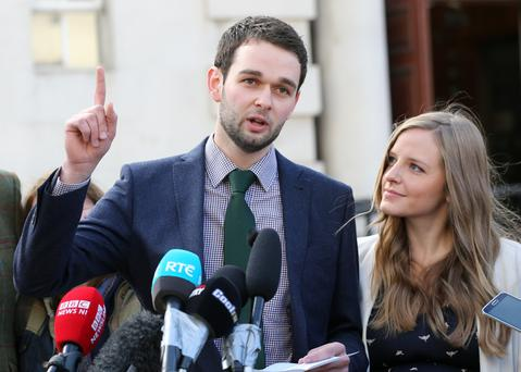 Daniel McArthur, director of Ashers Bakery, with his wife Amy outside the Court of Appeal after losing their appeal last month.