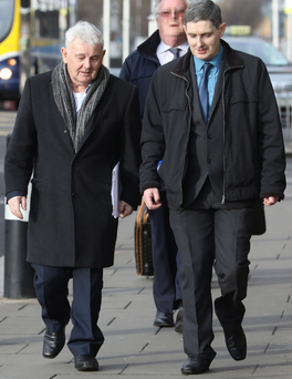 John Gilligan and son Darren arrive for the Supreme Court action. Photo: Collins Courts