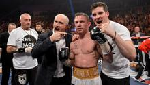Knockout: Carl Frampton celebrates a win with Barry McGuigan, left, and Barry's son Shane in 2013. Photo: Paul Mohan/ SPORTSFILE