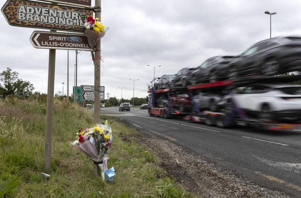 Flowers at the scene of the N7 crash. Photo: Colin Keegan, Collins