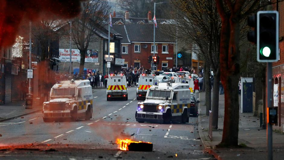 Police vehicles on the Shankill Road as protests continue in Belfast. Photo: Jason Cairnduff