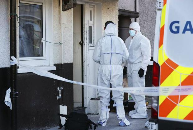 Members of the Garda Technical Unit at the scene of                 the fatal stabbing at Markievicz House in Dublin City                 Centre where a man in his 50's has died. Photo by Steve                 Humphreys 29th March 2021