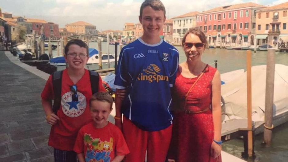 Pic shows: Niall, Ryan, Liam and Clodagh Hawe on holiday Clodagh Hawe family interview exclusive See Conor Feehan Copy