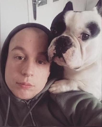 Denis McCarthy with his French bulldog Rocco.