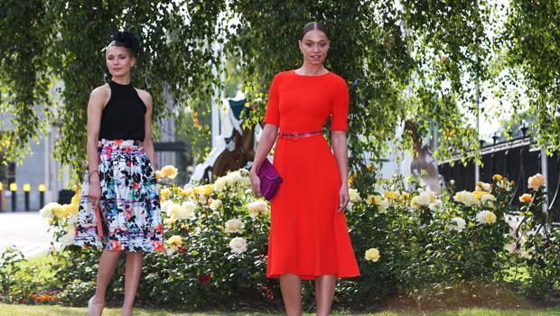 Models Teo and Irma at the launch of the Discover Ireland Dublin Horse Show on August 5-9. Photo: Leon Farrell/Photocall