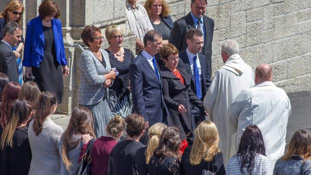 Parents Jim and Patricia and brother Robert at Eimear Walsh's funeral Mass in Foxrock. Picture: Mark Condren