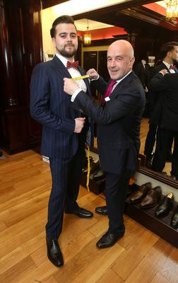 Mark McConville gets fitted out in the style of Conor McGregor by Louis Copeland in his store on Capel Street, DublinPhoto: Damien Eagers