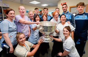 Silverware: Dublin footballers with nursing staff from St Gabriel's Ward  during the  All-Ireland Senior Football Champions' visit to Temple Street Children's Hospital in Dublin in 2017. Photo: Sportsfile