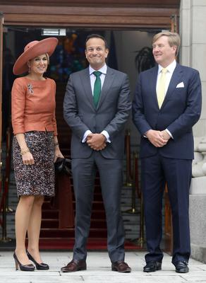 Taoiseach and Fine Gael leader Leo Varadkar with King Willem-Alexander and Queen Máxima of the Netherlands at Government Buildings Dublin. Photo: Leah Farrell/RollingNews.ie