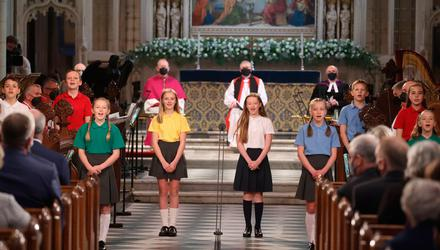 Children sing during the service at St Patrick's Cathedral in Armagh to mark the centenary of Northern Ireland. Photo: Liam McBurney