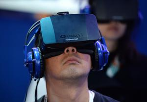 A man wears an Oculus Rift HD virtual reality head-mounted display. Photo: Getty Images