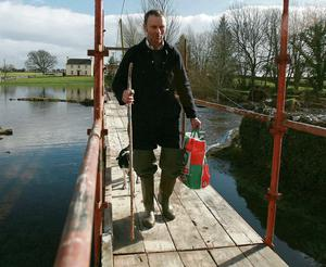 The council built this scaffolding foot bridge for Mickey Morgan from Skehanagh, South Galway