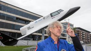 Bob Geldof beside a model space shuttle that one day he hopes to fly into space on at the One Young World 2014 Summit in Dublin. Photo: Mark Condren