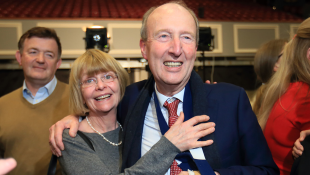 End of an era: Shane Ross with wife Ruth Buchanan after he was eliminated in the Dublin Rathdown constituency