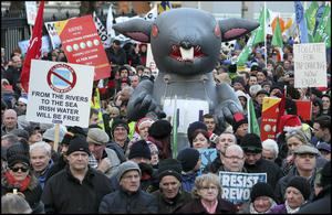 Voice of the people: Protestors at the water protest on Merrion Square last Wednesday. Photo: Steve Humphreys.