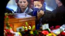 Niamh Doyle's mother Veronica follows the hearse to the funeral in Carlow town.